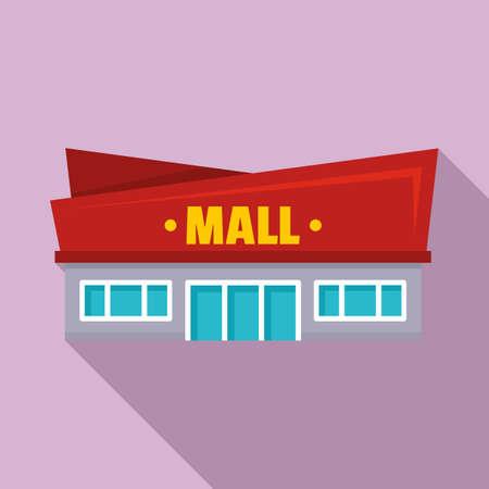 Facade mall icon, flat style
