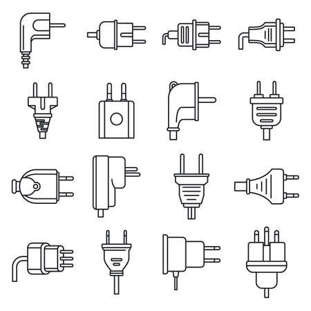 Plug cord icons set, outline style