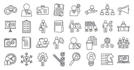Manager icons set, outline style