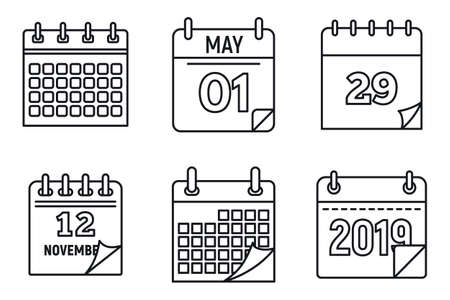 Calendar week icons set, outline style
