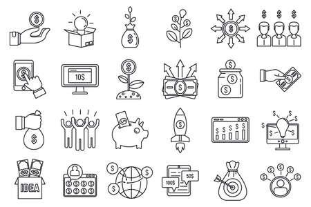 Crowdfunding idea icons set, outline style Stock Photo