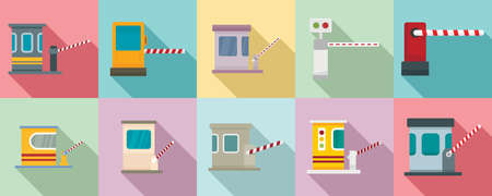 Toll road icons set, flat style