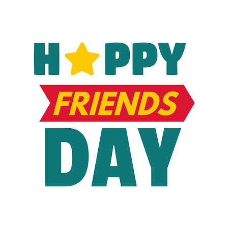 Happy star friend day logo, flat style