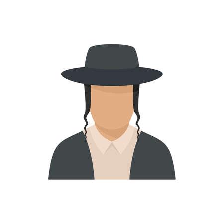 Jewish man face icon, flat style