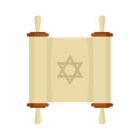 Torah papyrus icon, flat style