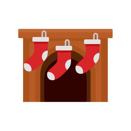 Xmas socks on fireplace icon, flat style