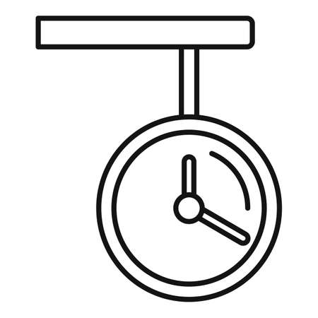Railway station clock icon, outline style