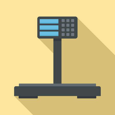 Digital supermarket scales icon, flat style