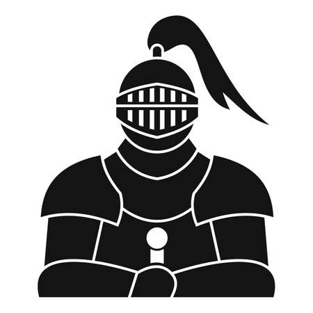 Medieval knight icon, simple style