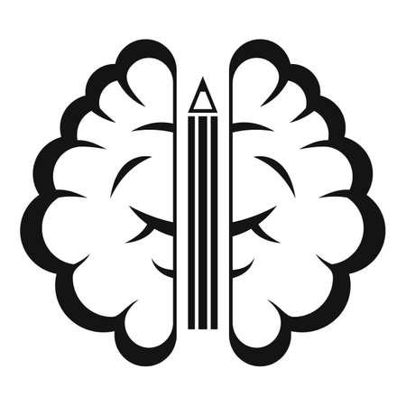 Pen brain idea icon, simple style