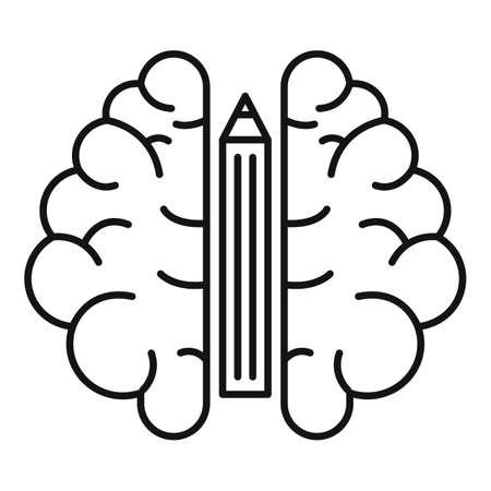 Pencil brain idea icon, outline style Stockfoto