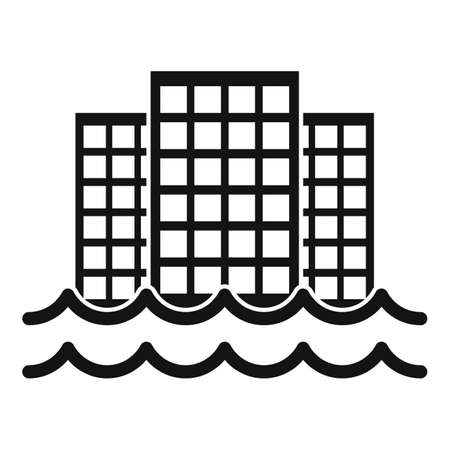 City in flood icon, simple style