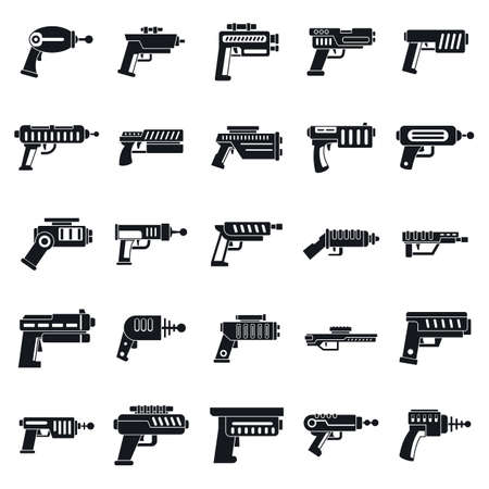 Raygun icons set, simple style