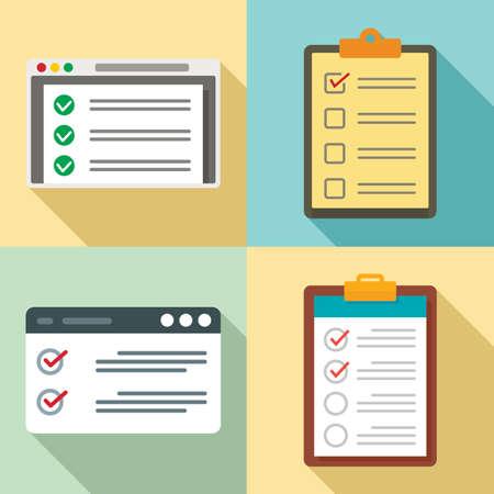 Checklist icons set, flat style