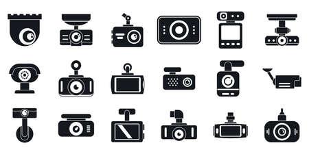 DVR camera icons set, simple style Reklamní fotografie