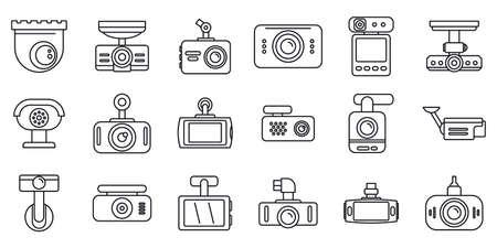 Digital DVR icons set, outline style Reklamní fotografie