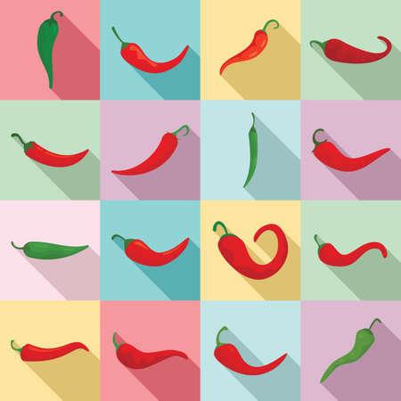 Chili icons set, flat style