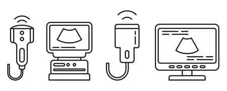 Ultrasound machine icons set, outline style 免版税图像
