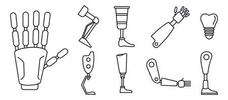 Bionic artificial limbs icons set, outline style