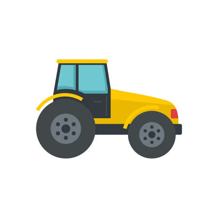 Modern tractor icon, flat style