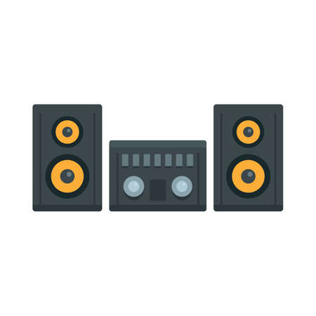 Modern stereo system icon, flat style