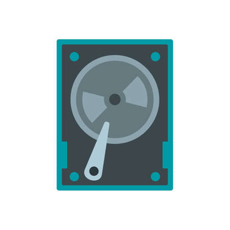 Magnetic hard disk icon, flat style