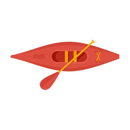 Top view sport kayak icon, flat style
