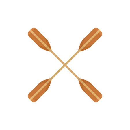 Crossed kayak paddle icon, flat style Foto de archivo