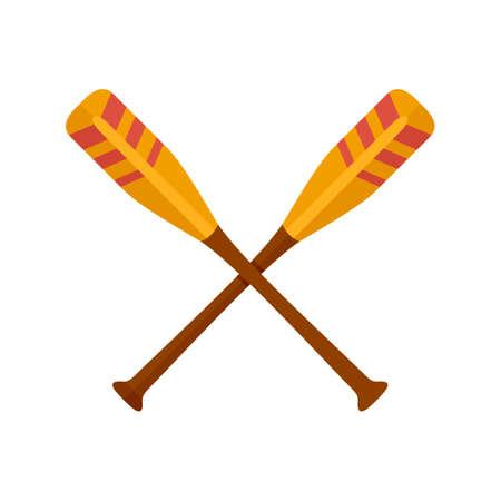 Crossed striped oars icon, flat style
