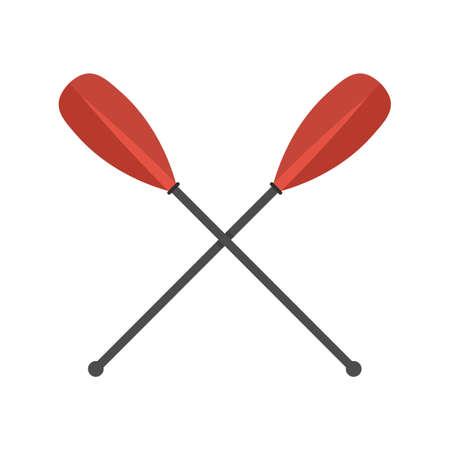 Metal crossed oars icon, flat style