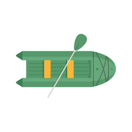 Rubber boat icon, flat style
