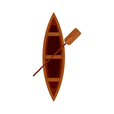Top view wood boat icon, flat style Foto de archivo