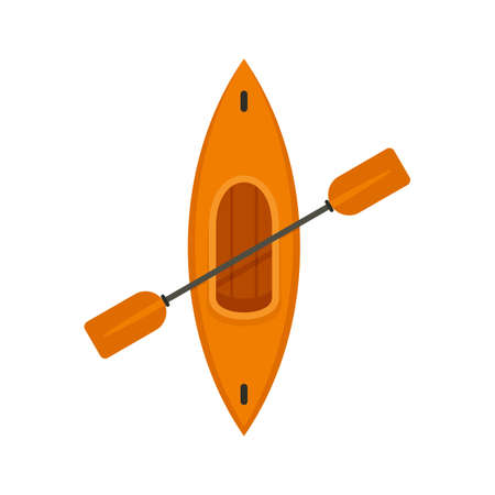 Top view kayak icon, flat style
