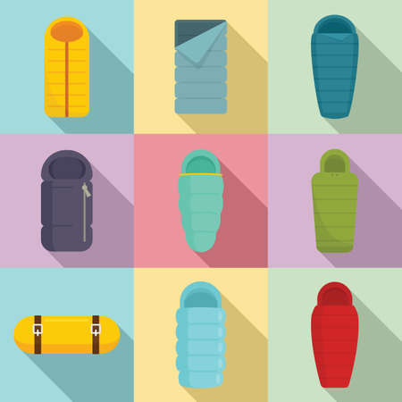 Sleeping bag icons set, flat style
