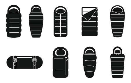 Adventure sleeping bag icons set, simple style Foto de archivo