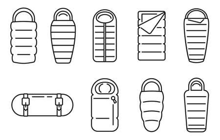 Fabric sleeping bag icons set, outline style