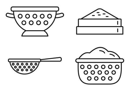Kitchen sieve icons set, outline style Foto de archivo