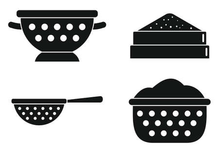 Sieve icons set, simple style