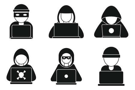 Hacker man icons set, simple style