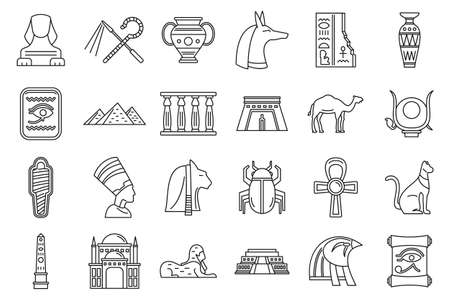 Egypt travel icons set, outline style