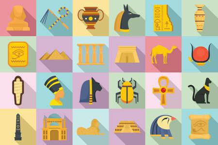 Egypt icons set, flat style
