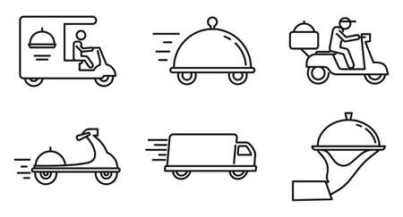 City food delivery service icons set, outline style