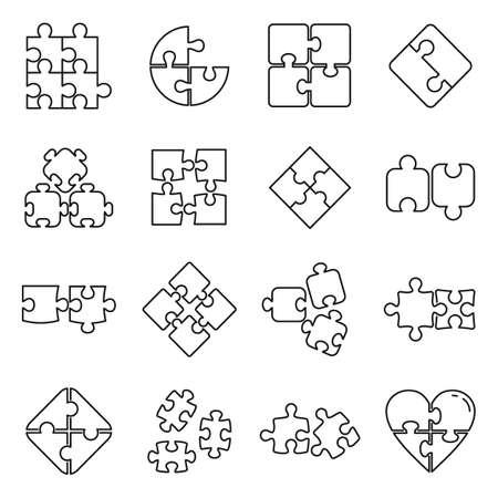 Puzzle pieces icons set, outline style Foto de archivo