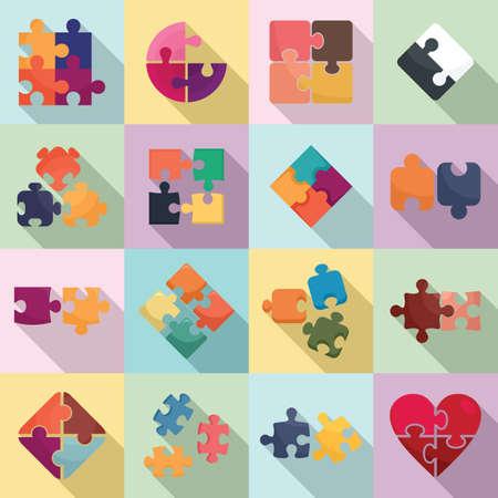 Jigsaw icons set, flat style Foto de archivo