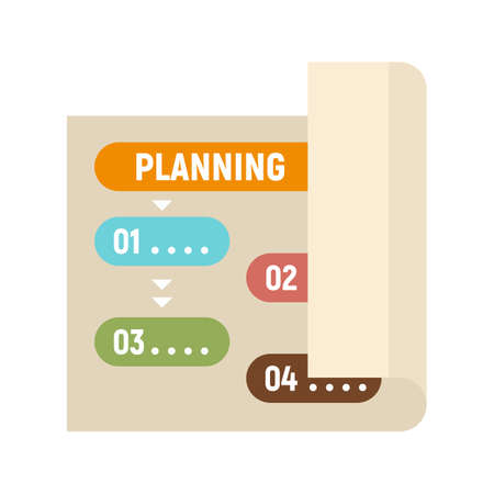 Planning paper icon, flat style