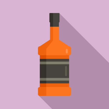 Duty free whisky bottle icon, flat style Vectores