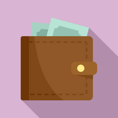 Full money wallet icon, flat style Vectores