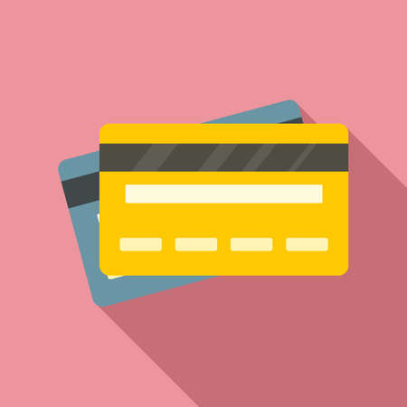 Credit bank cards icon, flat style