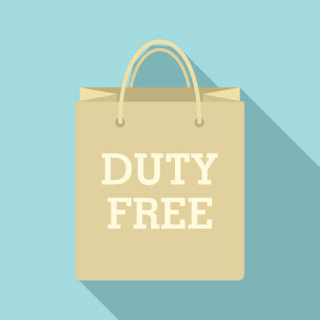 Duty free paper bag icon, flat style
