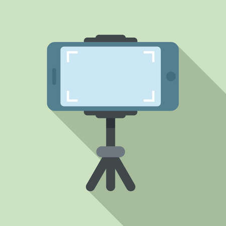 Smartphone on tripod video record icon, flat style